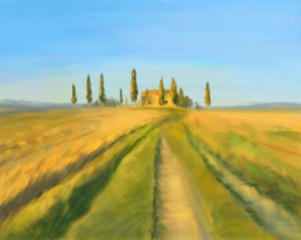 Pencil drawing of Tuscany in Summer