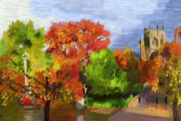 Painting of St. Mary's Nantwich from the Square in Autumn