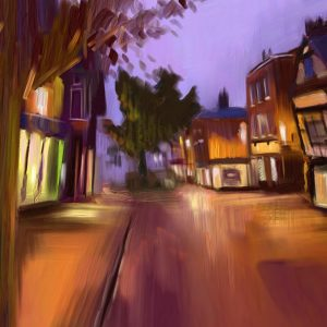 A painting of Nantwich town centre in the Autumn Twlight