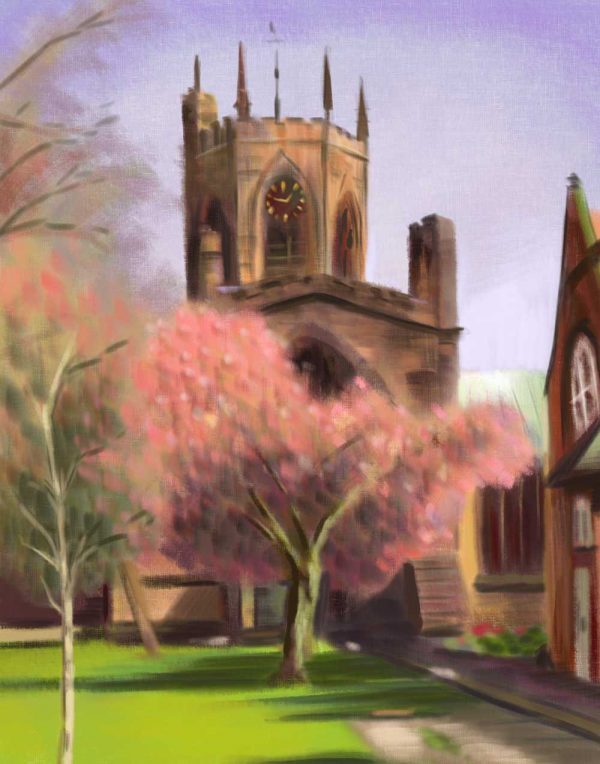 Sketch of Nantwich Church with Blossom